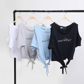Fashion Summer 2016 womens Elegant Letter Shoulder Off print Crop Top T-shirt Casual short Sleeve O neck shirt Loose Tops
