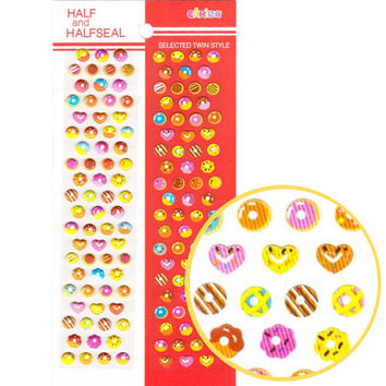 Colorful Donut Heart Shaped Sweets Shaped Puffy Stickers for Kids | Food Themed Scrapbook Decorating Supplies