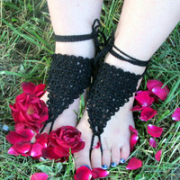 Black Barefoot Sandals, Goddess Sandals, Bohemian Accessories, Crochet Sandals, Pool, Hippie Shoes, Foot Jewelry, Yoga