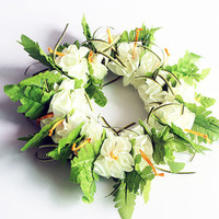 Ribbon lei for hula girls (white hibiscus head band) /Hula Accessories/Hula Flowers/Hawaii Hawaiian/headband/haku/Flowers Hair Clip/