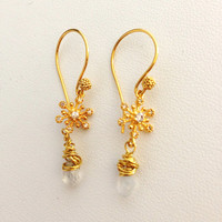 Vermeil Snowflake & Moonstone Bead drop earrings - 24Kt gold Vermeil - Moonstone briolettes  - cubic zirconia - delicate light snow ice - cz