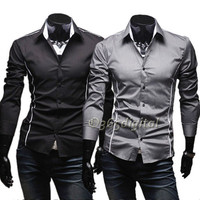 Hot Men's Fashion Stylish Casual Slim Fit Tops Trim Long Sleeve Shirts 35DI New