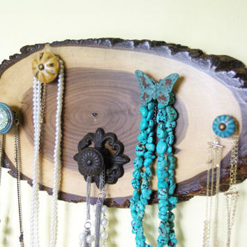 Cottage Chic Necklace Hanger, Rustic Jewelry Display, Country Style, Black Walnut Tree slab