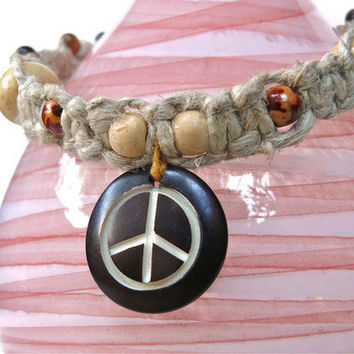 Peace Sign Hemp Necklace Unisex hippie by PeaceLovePakalolo