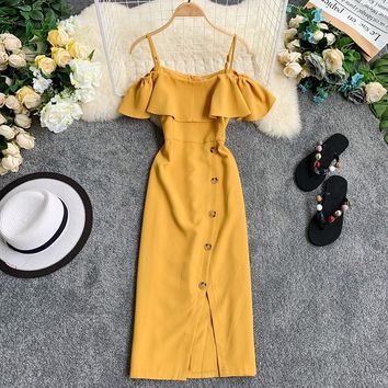 Woman Summer Slim Temperament  Strapless Ruffled Suspender Irregular Strapless Shoulder Single-Breasted Slit Dress A241