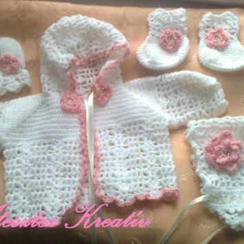 Baby sweater , hat, booties and mittens in white and pink ,infant clothes , newborn outfit