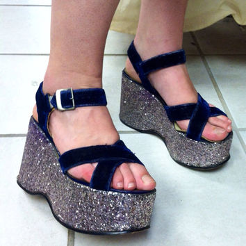 Sale! AWESOME Vintage 70s Original Blue Velvet & Purple GLITTER PLATFORM Disco Shoes size 7