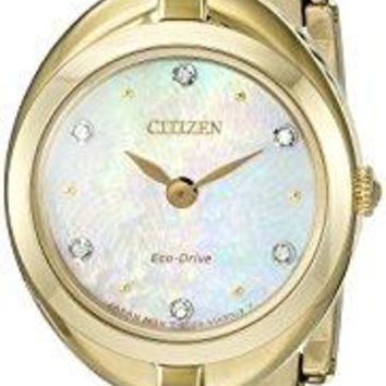 Citizen Eco-Drive Women's 'Silhouette' Quartz Stainless Steel Casual Watch, Color: Gold-Toned (Model: EX1432-51D)