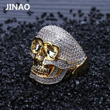 JINAO Hip Hop Copper Two Tone Skull Ring Iced Out Micro Paved Cubic Zircon Punk Fahion Ring for Men Women with 7,8,9,10,11 Size