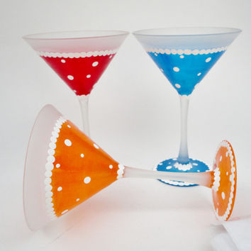 Martini Glasses, Painted Glasses, Orange, Red, Blue, Hand Painted Glassware, Painted Martini Glasses, Painted Bar Glasses, Gifts For Women