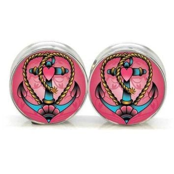 ac DCCKO2Q 1 pair Stay Gold Heart Anchor stainless steel night owl plug tunnels double flare ear plug gauges body piercing jewelry