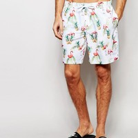 ASOS Mid Length Swim Shorts With Tropical Flamingo Print