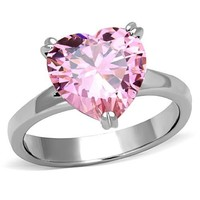 Pink Heart CZ Stainless Steel  Ring