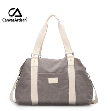 Canvasartisan Unisex Canvas Large Capacity Travel Handbag Men and Women Travel Duffle Bags Multifunctional Crossbody Travel Bag