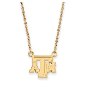 NCAA 14k Gold Plated Silver Texas A&M U Small 'TAM' Pendant Necklace