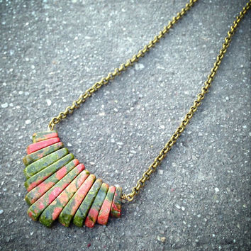 Unakite Chain Necklace