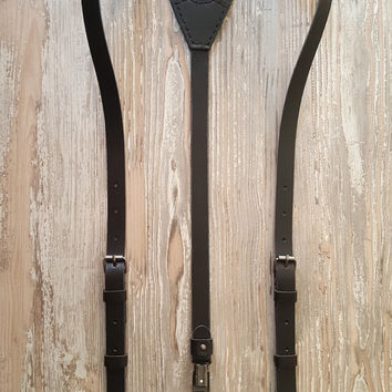 Leather Suspenders · Wedding Suspenders · Men's & Women's Suspenders - Sevilla Custom Black Vintage