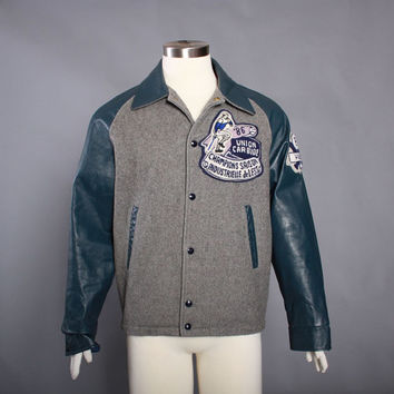 80s French Canadian LETTERMAN JACKET / 1980s Wool & Leather Baseball VARSITY Jacket