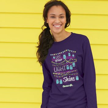 SALE Cherished Girl Let Your Light Shine Mason Jar Christian Bright Long Sleeve T Shirt