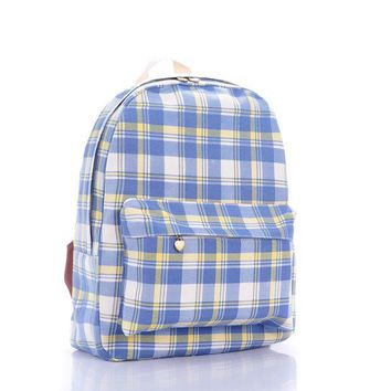 ICIKIX3 Plaid Korean Fashion Backpack = 4887895620