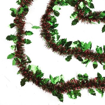 50' Shiny Red and Green Christmas Tinsel Garland with Green Holly - Unlit- 8 Ply (Pack of 3)