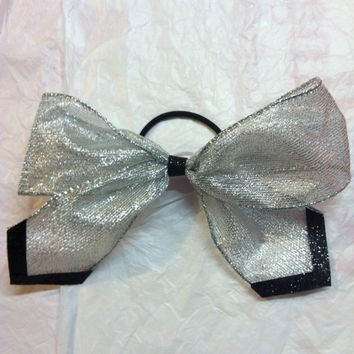 Black and silver competition cheerleading cheer bow by 2girls2Tus