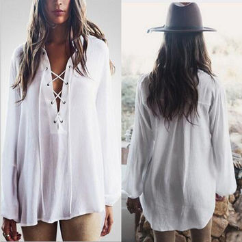 V-Neck Strappy Long  Sleeve Shirt Top Tee