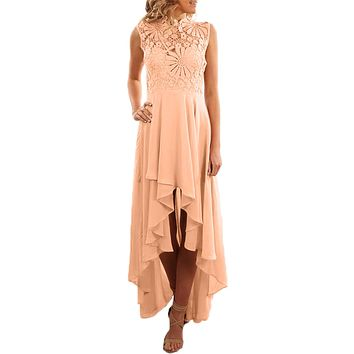 Apricot Floral Lace Bodice High-low Prom Dress