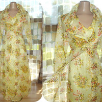 Vintage 70s Yellow Organza Floral Hostess Maxi Dress & Jacket Set Sheer Formal Gown S/M