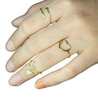 Arrow, heart, love ring Set/layered ring/knuckle ring Set/ Show your mind