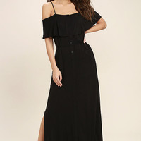 Life's Wonders Black Off-the-Shoulder Maxi Dress