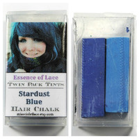 STARDUST BLUE - Hair Chalk // Twin Pack Tints // Blue Dip Tie Dye Style // Boho Hipster Emo Scene Pastel Set // Safe for Human Hair