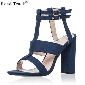 Road Track Summer Solid Suede Ankle Buckle Strap Women's Sandals High Heels 10 cm Conc