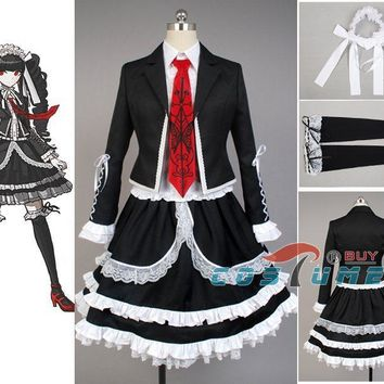 Dangan Ronpa Danganronpa Celestia Ludenberg Uniform Long Sleeve Top Short Dress Anime Halloween Cosplay Costume