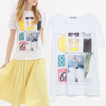 Women's Fashion Cotton Print Short Sleeve T-shirts [6047505793]