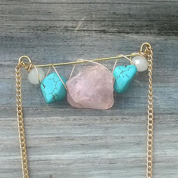 Rose Quartz & Turquoise Crescent Necklace || Crystal Necklace || Healing Jewlery