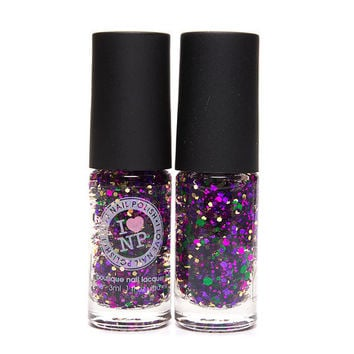 A Golden Orchid ULTRA MINI  - Gold, Green, Purple, Fuchsia Glitter Nail Polish