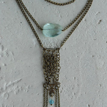 Necklace with AquamarineStone+Brass+Glass ~Lake Pure~ Chainmail Lace Necklace Elvish Necklace Mesh Lace Necklace in light Aqua+Blue & Brass
