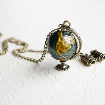 $12.99 World Traveller Necklace  Globe and Binoculars by cchmade on Etsy