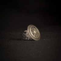 Antique Silver Embossed Button, Silver Statement Ring, Embossed Ring