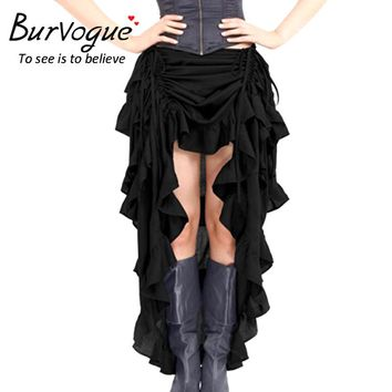 Burvogue Women Steampunk Skirts Gothic Elastic Victorian Asymmetrical Corset Skirt Costumes Black Solid Color Summer New Arrival