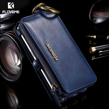 FLOVEME Case For iPhone 6 6S 7 8 Plus Case Original Luxury Brand Wallet Leather Bag Cover For Samsung Galaxy S7 S6 Edge Note 5