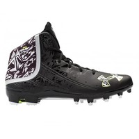 Under Armour Banshee Mid Cleat - Black/White | Lacrosse Unlimited