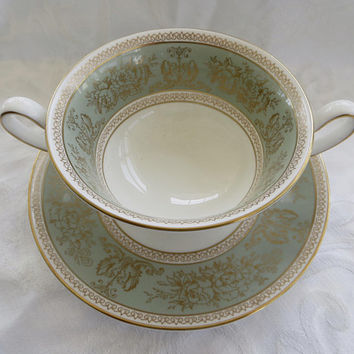 Wedgwood Cream Soup Gold Columbia Sage Green Vintage Wedgwood China
