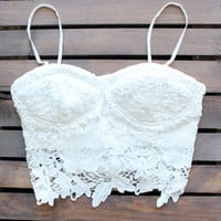 Malibu white lace crop top | FINAL SALE