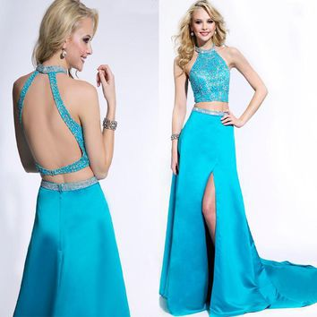 Gorgeous halter blue two-piece dress crystal embellished top sexy slit open back mermaid prom dresses 2016