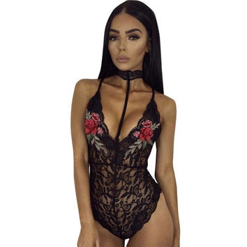 Sexy Halter Neck Lace bodysuit Women Skinny Hollow Out Appliques Flower Mesh Jumpsuit Rompers Women Overalls Ladies #416 SM6
