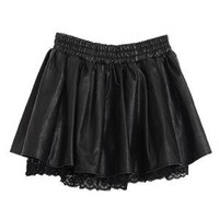 PU Skater Skirt With Lace Detail | Choies