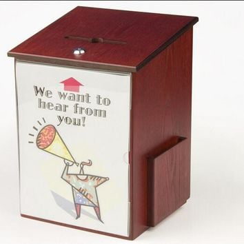 "10.1"" x 13.9"" x 9.5"" Wooden Ballot Box w/ Sign Holder, Side Pocket, Pen Lock, Wall or Counter - Mahogany 19255"
