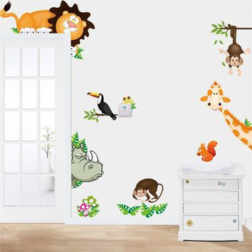cartoon animals wall stickers for kids bed room cd001. zoo decals babys home decorations diy adesivo de parede mural art diy 2.0